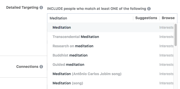 facebook interest suggestions typing
