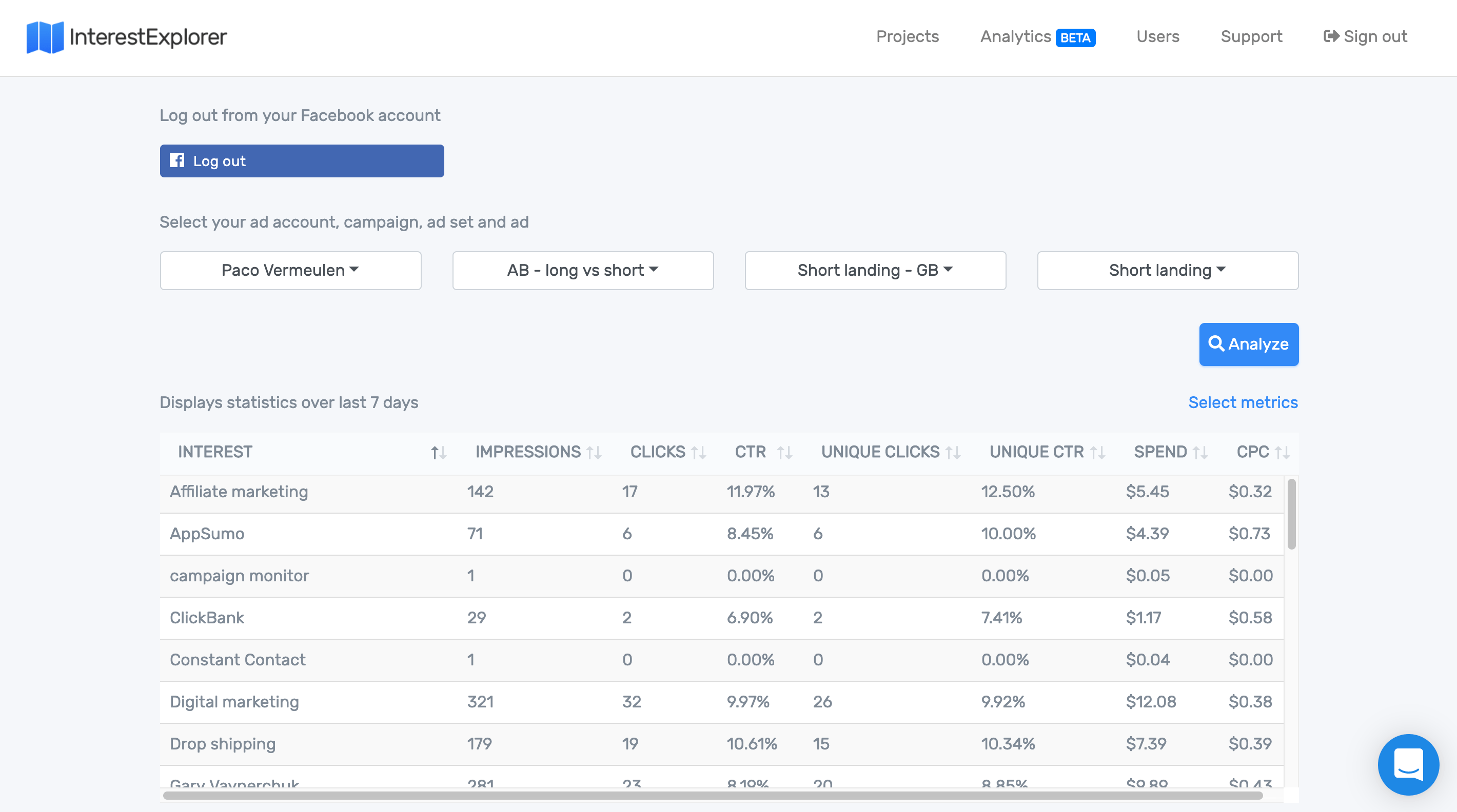 Facebook interest targeting tool for advertisers – InterestExplorer io
