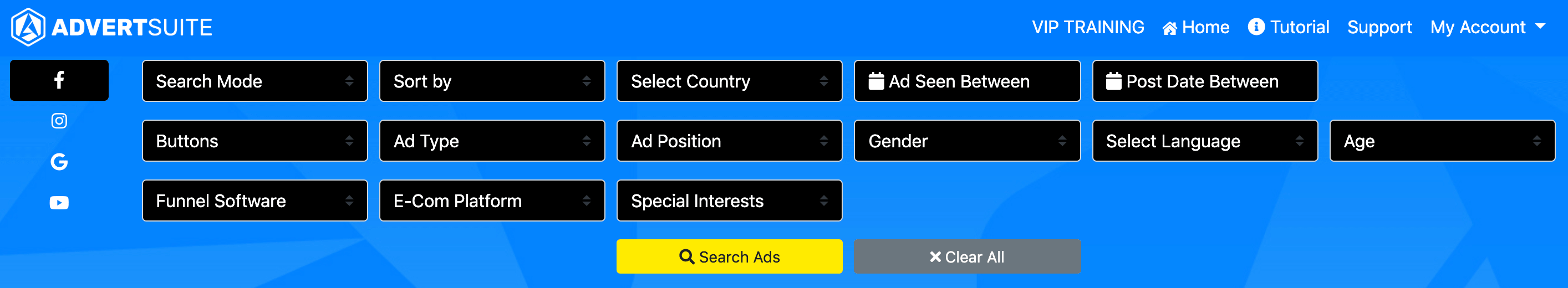 advertsuite search filters
