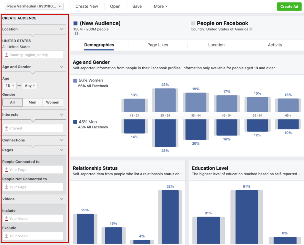 create an audience in facebook audience insights