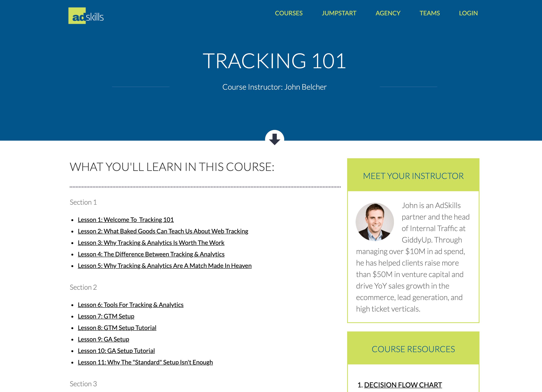 adskills tracking 101 course bonus
