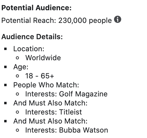 audience size layered interests