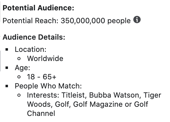 audience size stacked facebook interests