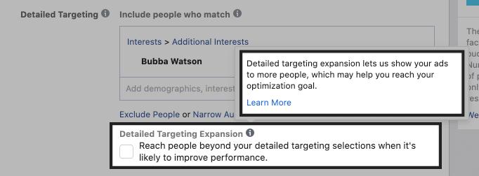 facebook detailed targeting expansion