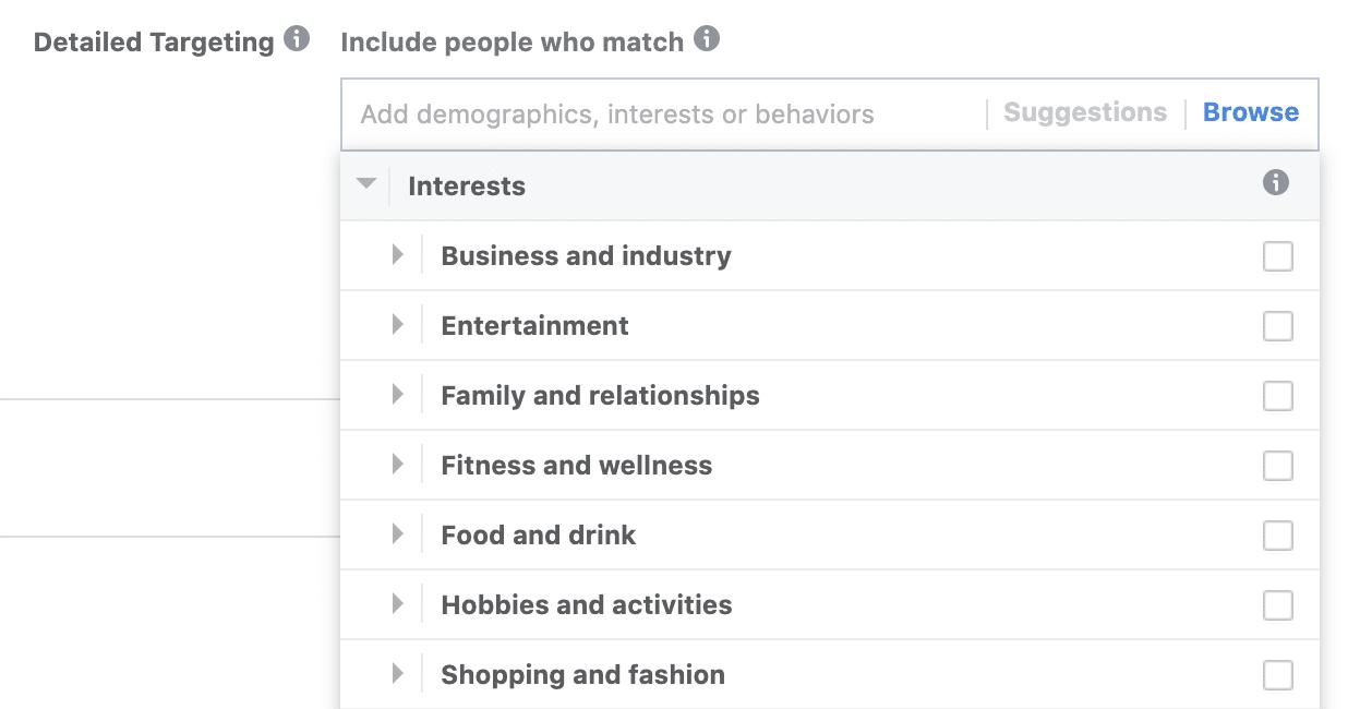 facebook interests list dropdown