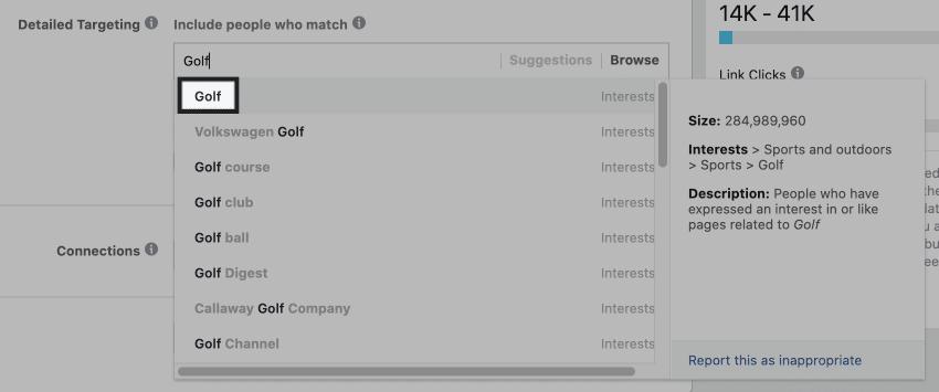 golf interest suggestions