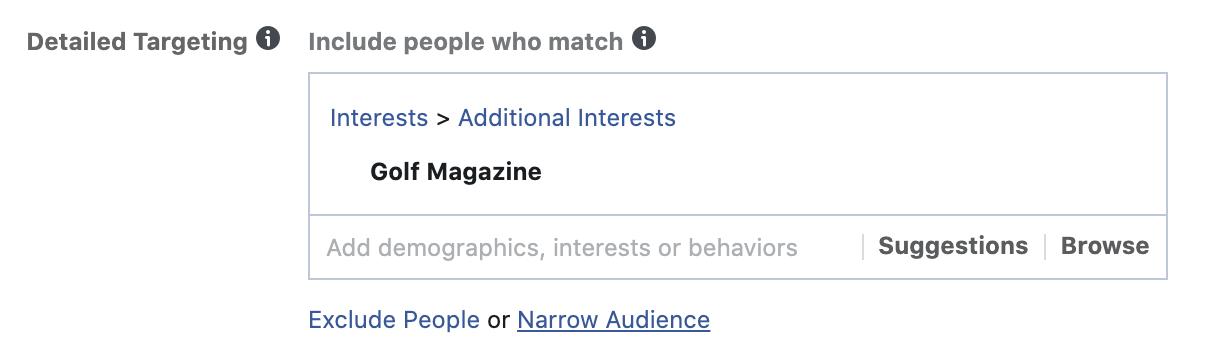 facebook interest layering step 1