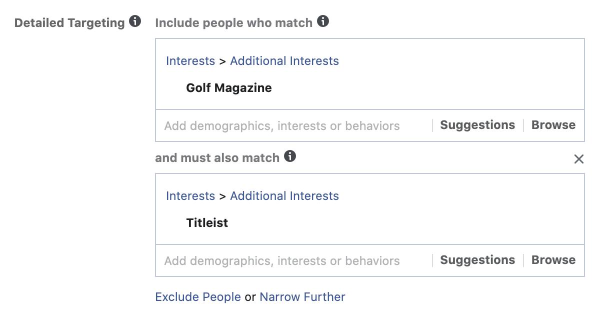 facebook interest layering - step 2