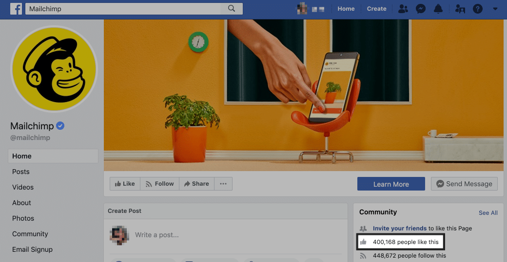 mailchimp facebook page likes