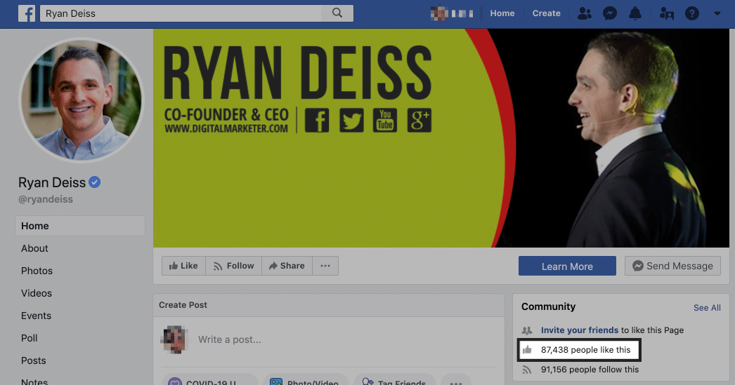 ryan deiss page likes