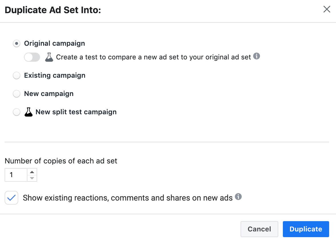 duplicating facebook ad sets