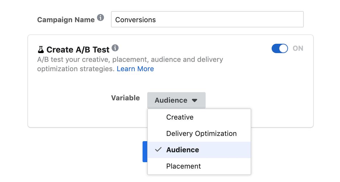 facebook ab test feature