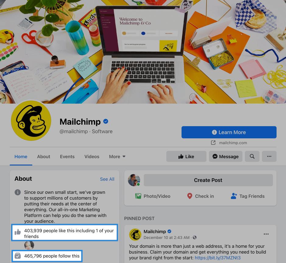 mailchimpe facebook page