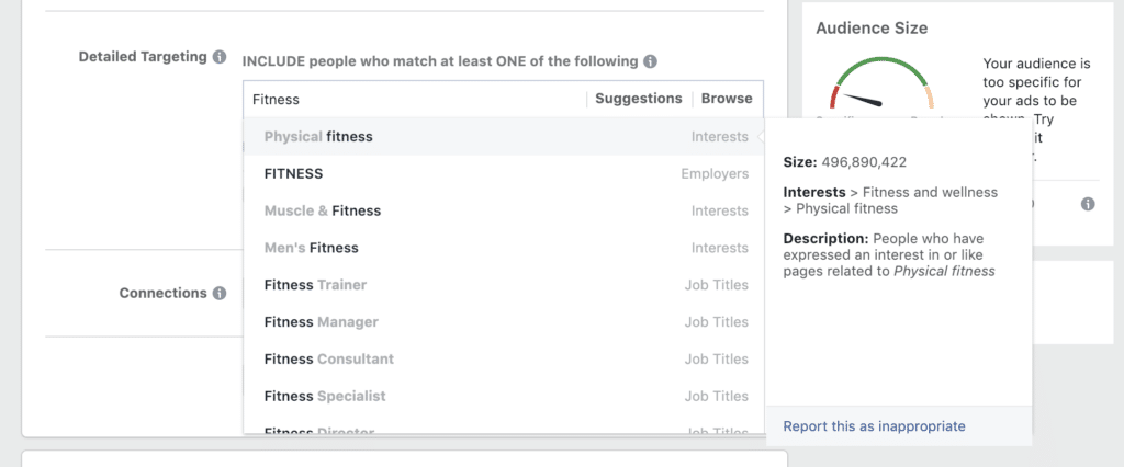 facebook ads manager limited suggestions