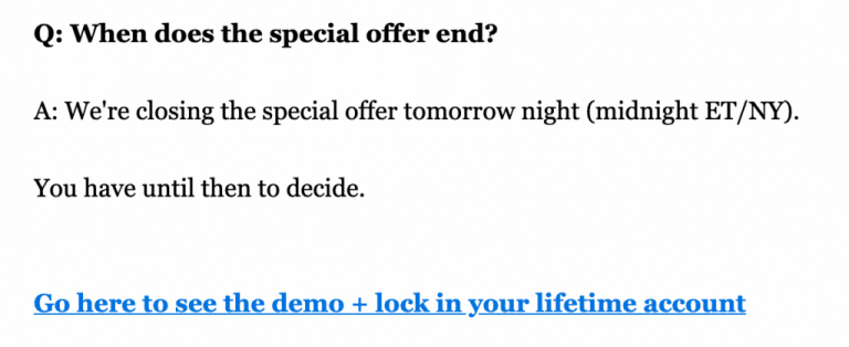 when does the special offer end